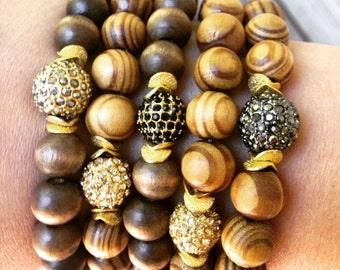 Bracelet, Pave' + Wood