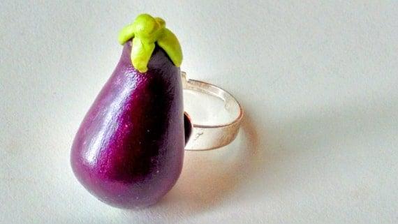 Eggplant Ring - Miniature Food Jewelry - Inedible Jewelry - Fruit Jewelry - Fake Food Ring - Kawaii Jewelry - Kid's Jewelry - Kawaii Jewelry
