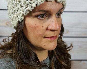 Womens Knitted Headband, Headwarmer, Crochet Hairband, Oatmeal Headband, Knit Earwarmer - Oatmeal with Button Closure Fast Shipping!