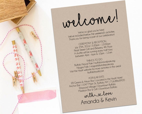 Welcome Letter Wedding Itinerary Printable Welcome Letter – Welcome Letter