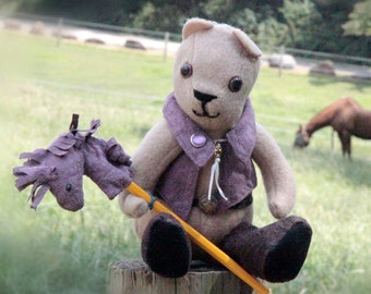 12-inch Teddy Bear with Purple Vest and Matching Stick Horse