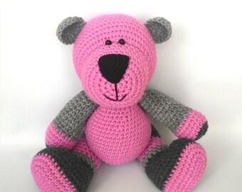 Crochet cuddly pink bear