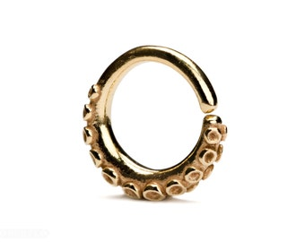 Octopus Tentacle Septum Ring Nose Ring Body Jewelry Gold Plated and Solid Silver Bohemian Indian Style 14g 16g - SE035R YGP T2