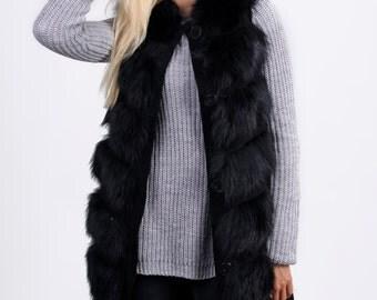 "Real fox fur vest ""Black"""