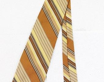 70's Hip Wide Striped Tie Vintage Men's Retro Brown Gold Yellow Necktie