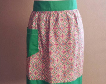 Handmade Mid Century Half Apron-Green Red Yellow Print-Apron with Pocket-Retro Apron