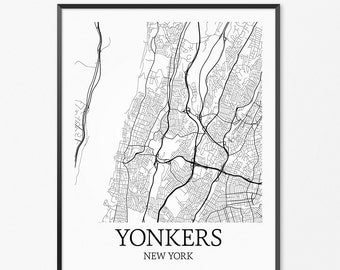 Yonkers Map Art Print, Yonkers Poster Map of Yonkers Decor, Yonkers City Map Art, Yonkers Gift, Yonkers New York Art Poster