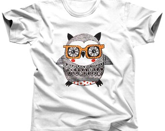 Hipster Owl Shirt - Men's Owl Tshirt - Owl T Shirt - Owl Clothing - Owl Top - Owl Birthday - Animal Shirt - Owl Tee - Owl Outfit - Teen