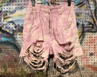 Vintage Faded Pink Acid Wash High Waisted Shorts - Size 9