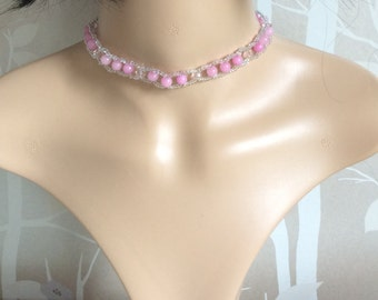 Pink Quartz and seed bead choker, gift boxed