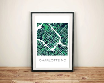 Charlotte NC Map, Charlotte Print, Charlotte Art, Charlotte NC, Charlotte, Home Decor, City Map, Map Art