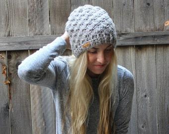 Crochet Shell Stitch Beanie/Pearl Grey