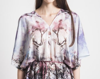 elegant tunic with sakura cherry blossom designer print unique