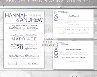 Navy/Gray Printable Wedding Invitation Set | Modern | Hannah Collection | RSVP & Details/Enclosure Card | Custom Colors Available