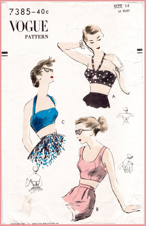 1950s 50s vintage sewing pattern repro crop top bra bikini top