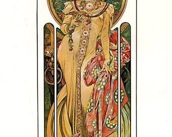 MUCHA 1976 Authentic Vintage Art Nouveau Print 1899 MOET & CHANDON Imperial