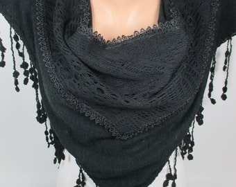 Black Lace Scarf Wedding Scarf Bridal Accessories Bridesmaids Gift Women Fashion Accessories Gift Ideas For Her Christmas Gifts MELSCARF