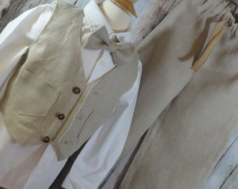 Boys linen vest, pants and bowtie...Great for Weddings...Beach styles to any formal wear...
