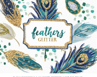 Feathers Glitter Gold Clip Art | Hand Painted Glam Peacock Feathers  Gemstone Graphics | Scrapbooking, Cards, party deco | Digital Cliparts
