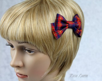 Blue and Red Hair Bow, Red and Blue Tartan Hair Bow, Tartan Bow, Plaid Hair Bow, Plaid Bow