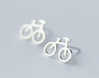 Cute Bicycle Earrings,Sterling Silver Stud Earrings,Silver Bicycle Earrings,Gift For Her,Mountain Bike Earrings,Bicycle Jewelry