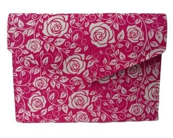 Pink and White Roses Flower Floral Fold Over Magnetic Fastener Slimline Envelope Clutch Bag