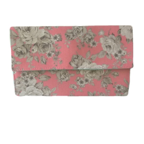 Peach Pink White And Grey Roses Flowers Floral Slimline Clutch
