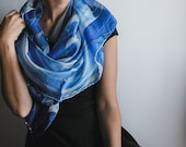 Square silk shawl, hand painted silk scarf in blue and white
