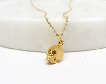 Mini Skull Charm Necklace - Gold Skull Necklace - Silver Skull Necklace
