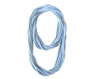 Tshirt Scarf Necklace, Airy Blue Fabric Necklace, Light Blue Jersey Yarn, Double Wrap, Multi Strand Necklace, Tshirt Yarn, Fabric Jewelry