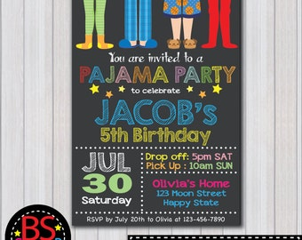 PAJAMA PARTY Invitation, Sleepover Birthday invitation, Pajama Party invite, Sleepover party