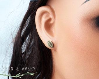 Bronze leaf earrings. Tiny dark gold post stud earrings. Sterling silver earposts elegant dainty
