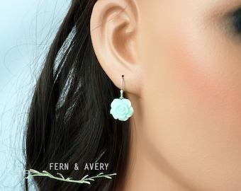 Elegant pale mint green flower drop earrings. Choose silver, gold or rose gold. Elegant and dainty