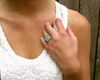 Aqua Chalcedony Statement Ring  - Gold Ring - Chalcedony Ring - Gemstone Ring