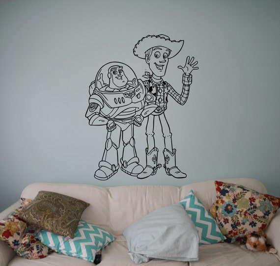 Buzz And Sheriff Woody Wall Vinyl Decal Toy Story Wall Sticker Home Disney Toy  Story 3
