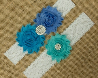 Something Blue Wedding Garter, Blue Garter Belt, Blue Wedding Garter, Garter Set, Lace Wedding Garter, Lace Garter, Blue Garter, SCW3-37