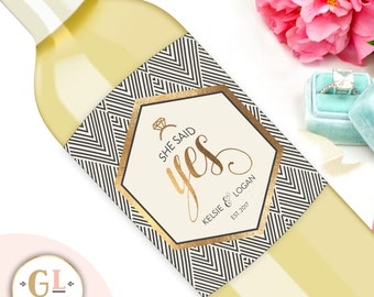 SHE SAID YES Engagement Label, Gifts for the Bride, Chic Wine labels, Engagement Party, Bachelorette Party, Bridal Shower Champagne Labels