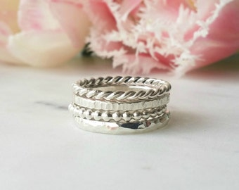 Sterling Silver Rings - Stackable rings - Set of 4 rings. Ring stack - Statement rings - Handmade