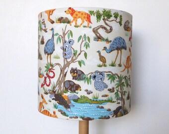 Outback Animals Lampshade | Australian Animals |  20cms x 20cms | Nursery Lighting
