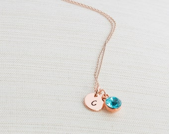 Rose Gold Gem Necklace, Initial Necklace, Hand Stamped on Disc, Personalised Jewellery, Rose Gold Plated Necklace, Bridesmaid Necklace