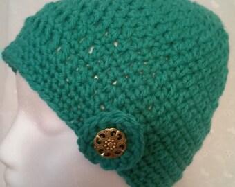 Teal, Blue, Crochet, Hat, Beanie, Acrylic, Womens, Fall, Winter, Bright, Warm