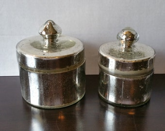 Vintage Set of 2 Mercury Glass Jars with Lids, Home Decor