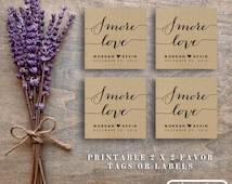 "Printable ""Smore Love"" Wedding Favor Tag Smore Tags Smore Love Tags Smores Wedding Favor Smores Bar Smores Kit Rustic Kraft Boho"