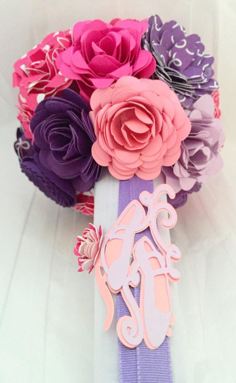 dance recital paper flower bouquet ballet pink purple and