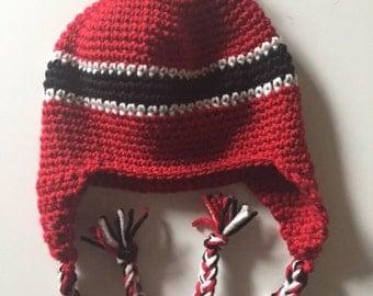 Red black crochet beanie earflap