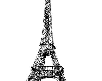 Eiffel Tower- print of pen and ink drawing