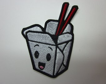 kawaii Chinesse Take out Box Smiling Kawaii Iron or Sew on patch