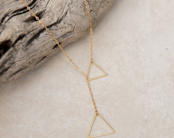 Gold Triangle Necklace, Raw Brass Triangle Lariat , Sexy Long Necklace, minimalist necklace, Drop Necklace, Geometric Necklace, best friend