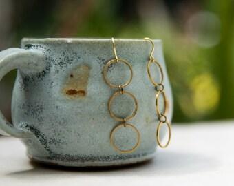 Antique Brass Circle Earrings, Delicate Circle Earrings, Boho Earrings, Triple Drop Circle, geometric earring, minimalist earrings