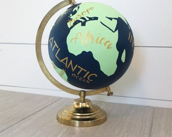 Hand Painted and Hand Lettered Customizable Travel Globe with Whale and Compass